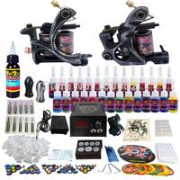 New 2 Pro Machine Guns Tattoo Kit 28 Inks Power Supply Needle Grips TK224 Free Shipping by DHL