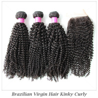 """Elites Hair Products 5A Grade Virgin Lace Closure with Bundles Brazilian Virgin Hair Kinky Curly Free part  4"""" * 4"""" Top Closures"""
