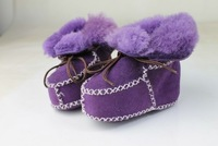 2014 Baby Winter Shoes Genuine Leather Nature Fur First Shoes Baby Kid Snow Boots  Bota Infantil  Children Soft Shoes