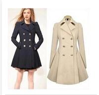 Free Shipping 2014 New Desigual Fall/Winter Coat Women Clothing Woollen Coat  Women's Long Wool Winter Coats