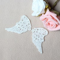 Hot Selling High Quality 10 Mirror pairs Embroidery Rayon Venice Lace Angel Wing Appliques