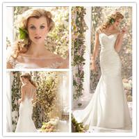 2014 Hot Mermaid Scoop Cap Sleeves Sweep Train Satin Beaded Simple Wedding Dresses Wedding Gown Bridal Dresses Bridal Gown