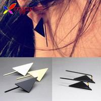 2014 women's earrings fashion punk gold silver black copper triangle designer piercing ear jewelry christmas gift wholesale