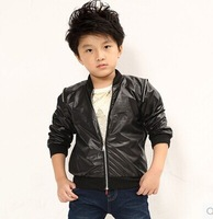 New 2014 kids leather jacket fashion brand boy coat Spring And Autumn winter long sleeve zip-up casual Wind-Breaker baby coat