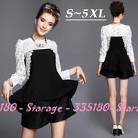 S-5XL Brand Black White Shirt Long Sleeve Patchwork Hollow out Lace Blouses Plus Size Women Shirt Trumpet Hem Tops G178