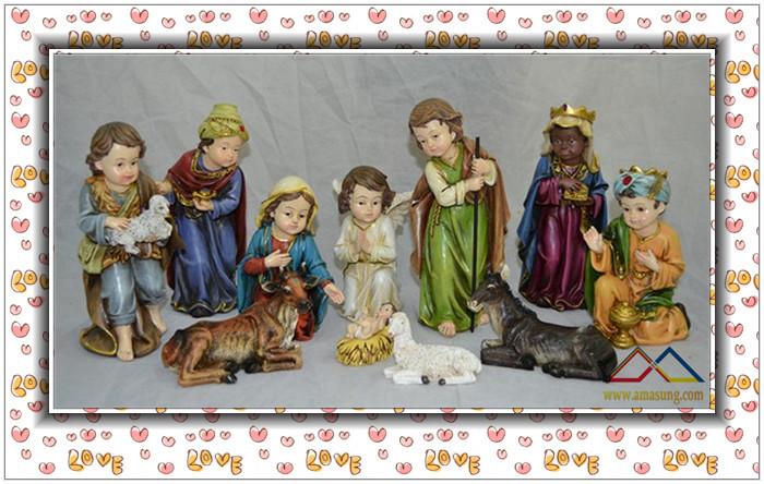 8''H Religious Natural Resin Christmas Nativity Set Scene, Custom Resin Nativity Set Crafts(China (Mainland))