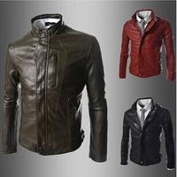 Hot Sale 3 Colors M-2XL 2014 Brand Men's Solid Leather Jacket Men Zip Motorcycle Jacket Mens Casual Coats Business Outdoor AX816