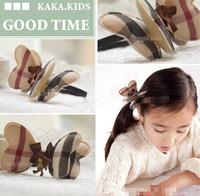 Korean Popular children check pattern printed butterfly children hair ponytail holder hair band