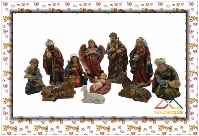 12''H Religious Natural Resin Christmas Nativity Set Scene, Custom Resin Nativity Set Crafts(China (Mainland))