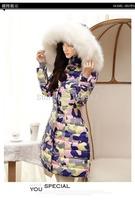 2014 winter camouflage down jacket female long fashion big fur hood coat warm women down coat plus big size XXXL 3XL 4XL 5XL 6XL