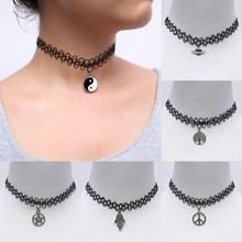 Handmade Hot Selling Vintage Stretch Tattoo Choker Necklace Gothic Punk Grunge Henna Elastic with Pendant Necklaces(China (Mainland))