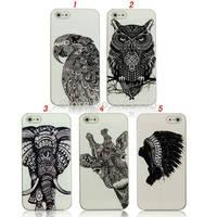 For iPhone 4 4S 5 5S 5C Animals Eagle Owl Elephant Giraffe Tribe Plastic Case