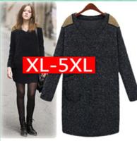 Runway Wool Dress Autumn With Long Sleeves Plus Size Dresses XXXXXL knee-length Women's Dress OL Brand Women Winter Dress ah009