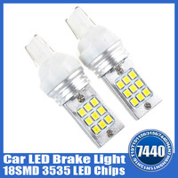 New 2pcs a lot DC12-30V Auto Car LED Brake Light 6K White 7440 3535 LED Chips 18 SMD Bulb Lamp