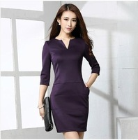 Hot Sale The autumn of 2014 new women's backing seven point sleeve V collar slim black skinny OL dress  Long Sleeved Dress