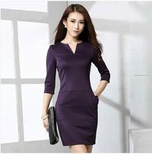 Venda quente no Outono de apoio de sete pontos gola V manga fino vestido preto magro 2.014 novas mulheres OL Manga comprida vestido(China (Mainland))