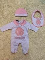 2014  New  Retail  Brand  fashion  spring/autumn   baby's  romper  set  hat+bibs+clothes   turn-down   collar  baby's   romper