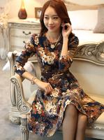 Women's Dresses Cotton Classical Vintage Long Sleeve Dresses Print Flower Slim Casual Summer Mini 2 Colors Dress With Belt