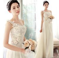 Fashionable One Shoulder Champagne Beach Wedding dress 2014 casamento Flower dress wedding dresses vestido de noiva W113