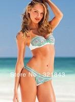 freeshipping 2014 bikini set ruffle bikini womens swim wear push up bathing print suit tops underwire swimwear top Swimsuit