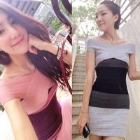 2014 new gradient color collar strapless mini dress spell color stripe knit bandage one-piece dress Slim
