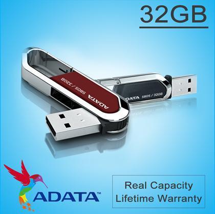 Free DHL ADATA USB Flash Drive 16GB 32GB 64GB 128GB 256GB Flash Disk S805 Carabiner Keychain Rotation Sports USB Pen Drive(China (Mainland))