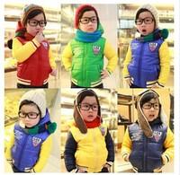 2014 New arrival children outerwear  boysand girls winter warm lambs wool hoodies cartoon outerwear cotton-padded jacket
