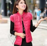 8 colors 2014 New autumn and winter hot-selling faux patchwork PU short design vest Women Fur  cotton Down Vest Jacket Coat