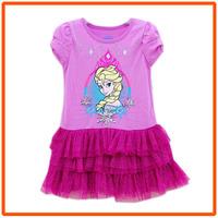 Girls Frozen Princess Dresses New 2014 Girl Summer Dress Kids Short-Sleeves Casual Cotton Clothes 5pcs/lot IDZ9411
