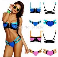 Free Shipping Women's Bandage Bikini Set Push-up Padded Bra Swimsuit Bathing Suit Swimwear patchwork with zipper