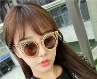 Fashion 2014 Grid hollow circularmode sunglasses  4 colour sunglasses Men's sun glasses Goggles