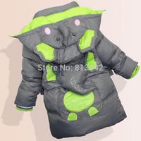 Boys Winter Coats Children's Warm Outwear  2014 New Kids Elephant Jacket Cotton Padded Blue Grey