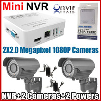 Big Promotion! 2CH  Mini NVR 1080P CCTV Varifocal lens2.8-12mm IP Zoom Camera security system NVR kit+Free shipping