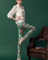 2014 flower trousers print pencil pants slim skinny pants trousers new arrived
