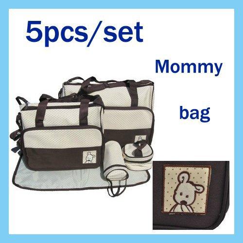 5Pcs Multi Function Baby Diaper Bag Mummy Mama Nappy Tote Handbag(China (Mainland))