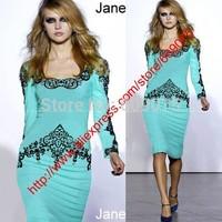 2014 New Women Elegant Celebrity Square-neck Full Sleeve Knee-length Lace Dress