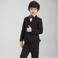 Child blazer male child high quality flower girl formal dress five pieces set boy blazer