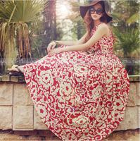 5805 Summer Dress 2014 Sexy Boho Long Maxi Evening Party Dress Beach Casual Dresses Chiffon Women Dress Vestidos