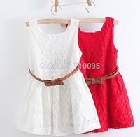 Summer Sleeveless Older Girl Lace Dress Children Party Dress Red White, BG113