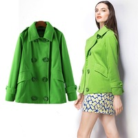 2014 Winter New Fashion Women's Elegant Warm Double Breasted Green Coats Casual Brief Ladies woollen Trench Outerwear PS0583