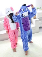 Flannel animal dot cat donkey one piece sleepwear cartoon lounge parent-child autumn and winter coral
