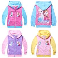 Frozen Elsa Hoodie Girls Outerwear Anna Zipper Hoodies Long Sleeve Hooded Kids Sweatshirts