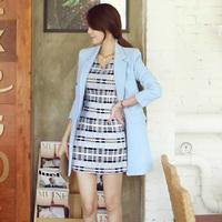 2014 slim one button blazer outerwear female medium-long casual all-match women's suit