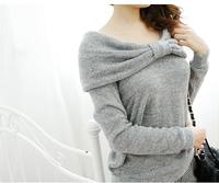New arrival 2014 autumn slash neck long sleeve Korean big bow women tops and tees female t shirt free shipping
