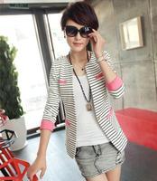 Spring 2014 autumn popular fashion women clothing coat,plus size slim show thin striped mid-long design blazer feminino,M-XXL