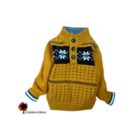 New Children's Clothing Autumn Winter Boys Thick Warm Jacquard Cotton Qulity Half-open Collar Sweater Kids Sweater