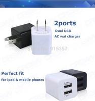 10/lotUniversal US EU Plug 2 port dual USB AC wall charger power adapter For iPhone 5 5S ipad Samsung Galaxy s3 s4  5V 2.1a usa