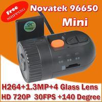 Free Shipping MINI Car Video Recorder DVR  with Novatek 96650 + WDR Technology + AVC HD 720P 30FPS + G-Sensor +140 Wide Angle