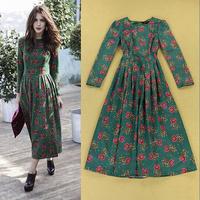2014 Autumn European and American retro ladies fashion temperament print Slim Pleated long Dress