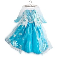 Frozen Dress Princess Queen Elsa Party Fancy Dresses Girls Long Sleeve Skirts Cosplay Costume Clothes 3-8Y by DHL 100pcs/lot